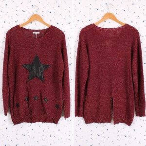 Sweaters - Star Pattern Accent Sparkle Knit Pullover Sweater